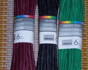 Paper Twist,6 yds/skein,Creative Twist,green,burgundy,black,wreaths,crafts,bows,Christmas