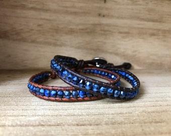 Black & Blue Single Wrap Bracelet