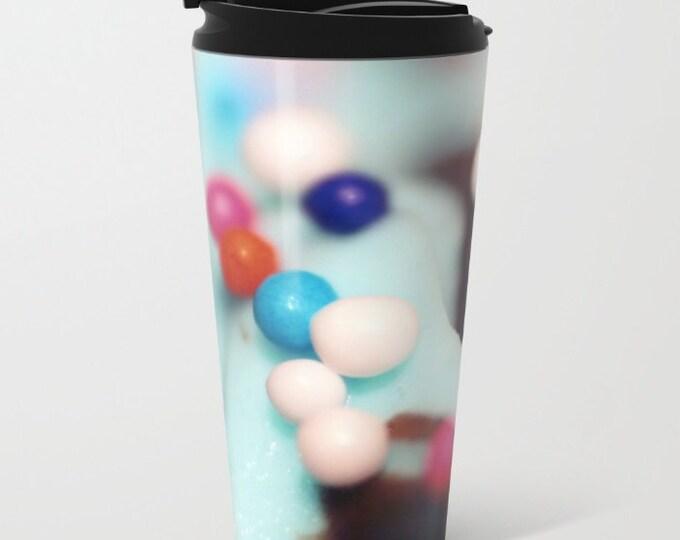 Cupcake Sprinkles Travel Mug Metal - Coffee Travel Mug -  Sprinkles Photo - Hot or Cold - 15oz Mug - Stainless Steel - Made to Order