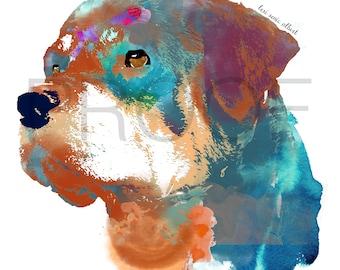 rottweiler || rottie || american rottie || Caesar the Rottweiler || watercolor dog || dog art || rottie art || rottweiler art
