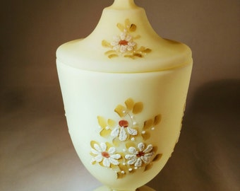 Vintage Fenton Candy Dish with Lid Discontinued Daisies on Custard Design Signed by Late Linda McMullen 1st Hand Decorator for Fenton Satin
