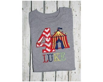 Kid's embroidered circus themed birthday party shirt for photos/ first birthday / boy / girl
