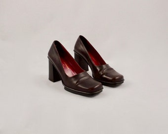DONALD PLINER chunky platform heels / 9.5 - 41 / brown leather heels / 90s chunky heels / block heels / mary janes / square toe heel