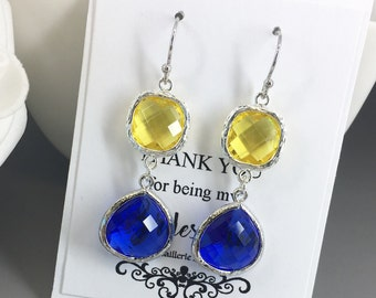 Dangle Earrings Royal Blue and Yellow Bridesmaid Jewelry Earrings Glass Drop Bridesmaid Gifts Royal Blue Cobalt Blue Yellow Wedding Gift