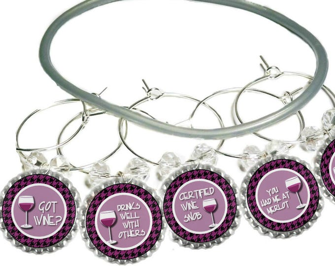 Got Wine Pink Bottle Cap Wine Charms