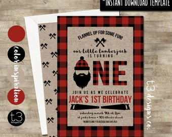 Instant Download, Lumberjack First Birthday Invitation, DIY PDF, Buffalo Plaid Invite, Wilderness Birthday Invite, Beard Birthday, T11