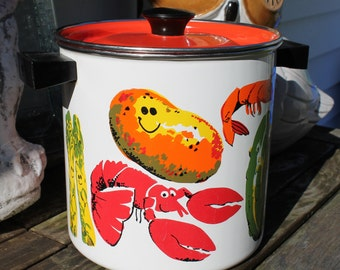 Mid Century Enamel Stock Pot with Lid, Vegetable Steamer, Retro Cookware, Cookware, Smiling Veggies, Seafood Steamer, Seafood Cooker