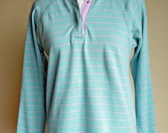 80s Pastel Polo Shirt Teal Purple Stripe Rugby Top Contrast Collar Raglan Sleeves Womens Medium