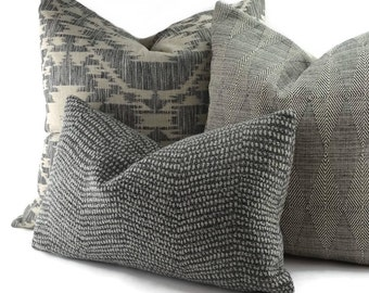 Smoke & Charcoal Gray Textured Chevron Lumbar Pillow Cover, 12x20