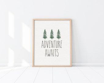 Adventure awaits PRINTABLE Nursery art - Woodland - Minimalist - Neutral Nursery Decor - Beige Green Brown - Baby shower gift - SKU:3396