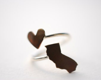 California Heart Love Twist State Ring (Sterling Silver & Copper I <3 CA Cali Ring)