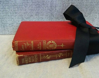 Two Antique Red Poetry Books of Love The Worlds 1000 Best Poems Vol 8 and Love and Mr Lewisham HG Wells Sweet Gift