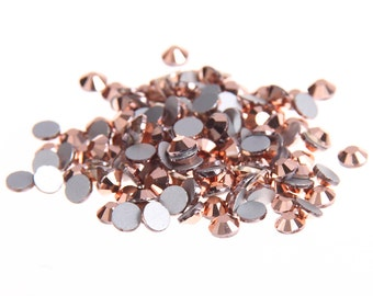 Rose Gold --  5000 pcs Assorted 8 Sizes Crystal Glass Rhinestones Flatback High Quality no hotfix  Wholesale Pack Lot