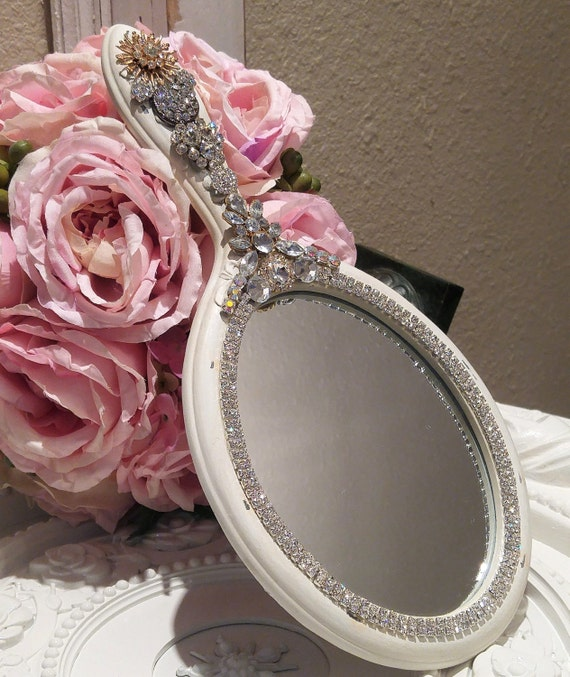 GOrGeouS vintage RHINESTONE hand Mirror Wall hanging old jewelry brooch