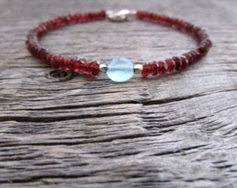 Garnet Bracelet, January Birthstone Bracelet, Garnet Jewelry, Chalcedony Bracelet, Gemstone Bracelet, Bead Bracelet, Stack Bracelet, Gift