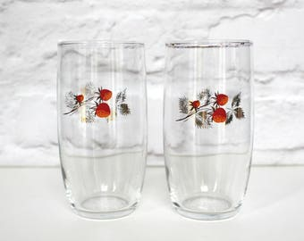 Vintage Strawberry Glasses, Vintage Drinking Glasses, Mid Century Bar Ware, Vintage Home, Vintage Kitchen, New Home Gift, Lemonade Glass