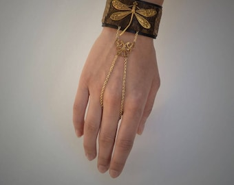 Dragonfly Leather Finger Chain Bracelet / Cuff