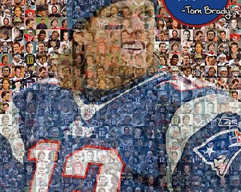 "Tom Brady Photo Mosaic Print Art using 50 Different Player Images of Tom. 11x14"" Matted. Handmade by the Mosaic Guy"