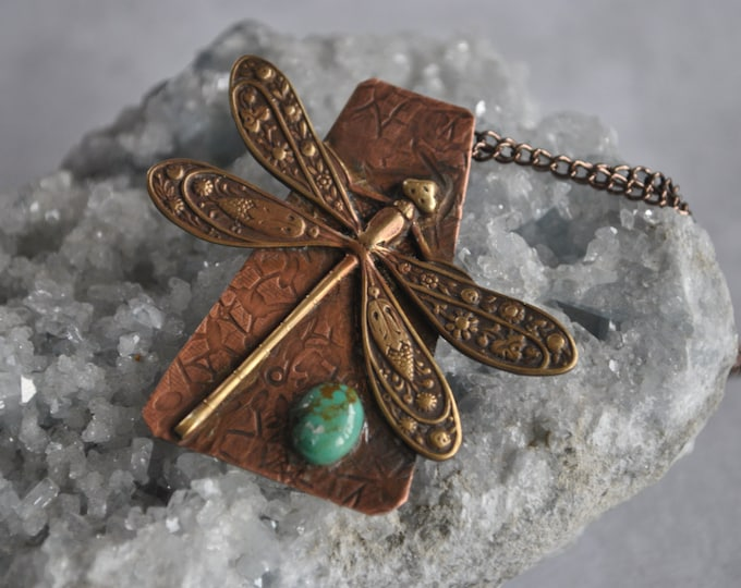 Dragonfly and copper pendant necklace, rustic, artisan necklace, turquoise necklace