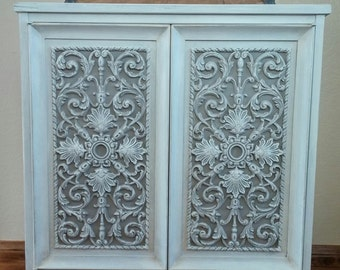 SOLD TO ALEN - Gorgeous Pair of French Country Nightstands-Ornate Old White & Grey End Tables - Vintage Furniture