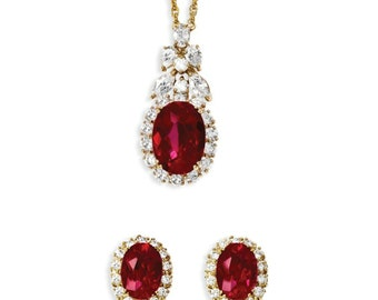Jackie Kennedy Ruby Necklace Set - Gold Plated, Simulated Gemstones, Box and Certificate