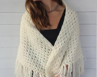 Vintage chunky knit shall/ wrap