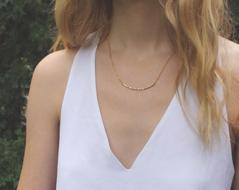 Hammered Gold Bar Necklace // 16K Gold // Minimal Necklace // Layering Necklace // Geometric Necklace // Curved Gold Bar Necklace
