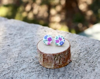 Floral Fabric Button Earrings // Purple Pink Bue  // Retro Earrings // Vintage Earrings // Covered Buttons // Studs / Tiny Colorful Earrings