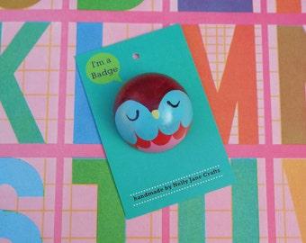 Blue Owl Badge / Kawaii Pin Badge / Brooch / Badge / Pin / Button / Kawaii Pin