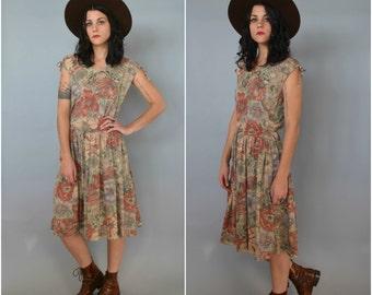 1970s drop waist floral dress
