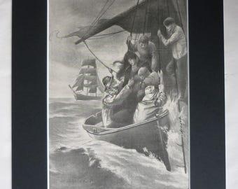 1903 Antique Lifeboat Print, Coastguard Gift, Shipwreck Decor, Available Framed Ship Art Maritime Picture Nautical Artwork RNLI Illustration