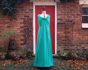 60s designer vintage dress / 1960s maxi dress / dress train / grecian dress / chiffon dress / evening dress / Margot Paynton / emerald green