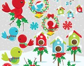 80% OFF SALE Christmas birds clipart commercial use, christmas birds vector graphics, clipart, holiday clipart  - CL1047