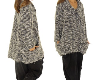 HP600GR sweater 30% wool & polyester 70 Gr. 42, 44, 46, 48, 50, 52 gray Boucle plus size layer look