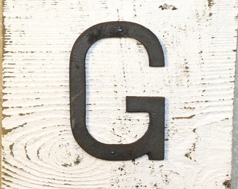 G - 5 Inch Cast Iron Metal Letter G- WITH DRILL HOLES for Mounting