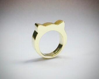 Handmade brass cat ears ring.