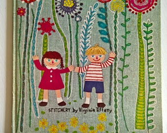 Selections from A Child's Garden of Verses by Robert Louis Stevenson --- Stitchery by Virginia Tiffany --- Vintage Children's Fun Poem Book