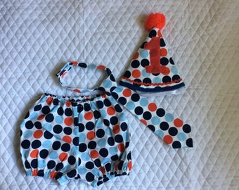 Boys 1st birthday   Nautical dots  outfit,cake smash  pants set,12 months.Ready to ship