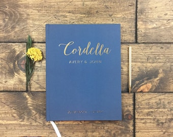 Real Gold Foil Wedding Guestbook. Custom Navy Blue Wedding Guest Book. Guest Sign in book. Wedding Gift. Gold Foil Wedding. Book for wedding