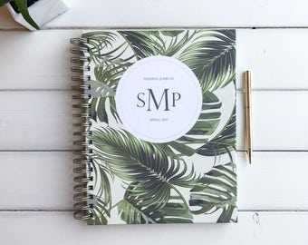 Wedding Journal. Customized Wedding Notebook. Scrapbook Memory Book. Palm Leaves Custom Guestbook. Sign in Book For Wedding. Bridal Book