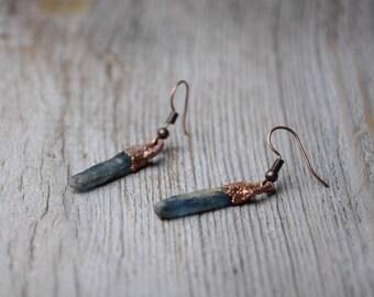 unique crystal rough spike kyanite earrings copper fashion jewelry mom gift boho earrings gift for women