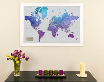 Earth toned world push pin travel map with pins 24x36 personalized vibrant violet watercolor world travel map push pin travel map 1st anniversary gift sciox Choice Image