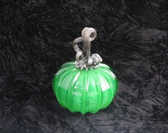 Bright Green Hand Blown Glass Pumpkin T248