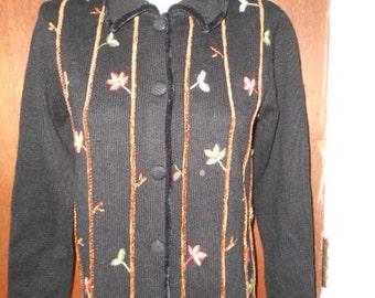 Quacker Factory Turkey Thanksgiving Cardigan Sweater XS Extra Small