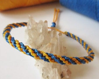 Blue & Yellow Friendship Bracelet/Love/Surf Bracelet Handmade Wristband