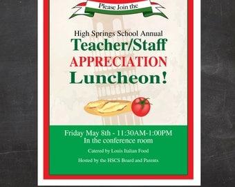 Teacher and Staff Appreciation Italian Lunch Flyer  - Event Custom Printable - Flyer - School or Church, PTA, PTSA, PTO