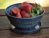 stoneware berry bowl / small colander with saucer