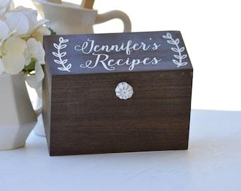 Personalized Recipe Box, Wood Recipe Box, Pantry Organization, Laurel Wreath Decor, Recipe Holder, Bridal Shower Gift, Mother's Day Gift