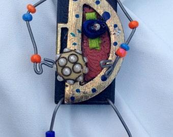 Zen Steampunk,Reclaimed Treasures,Fantasy Art,Wearable Art,Whimsical Jewelry,Recycled,Storyteller Art Pin,Assemblage Art,Trash to Treasure