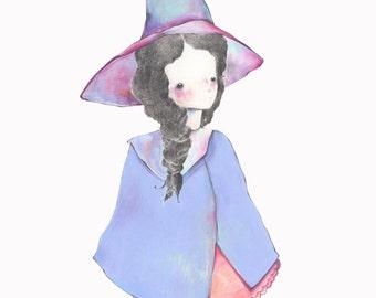 Lavender. Graphite purple witch girl illustration, 8 x 10 inch print.
